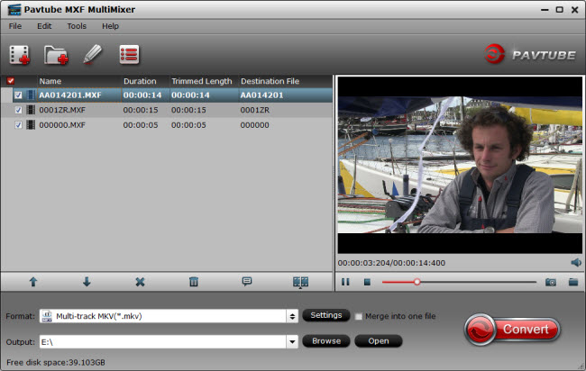 Pavtube MultiMixer is a MXF multi audio track/channel preserver that imports multi-track MXF video, exports multi-track audio channels in MKV, MP4, MOV, AVI, as well as mixes the multiple audio tracks/channels into one.