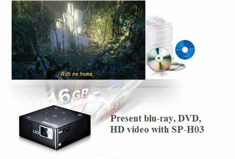 Play blu-ray movie on Samsung  SP-H03 Pico Projector