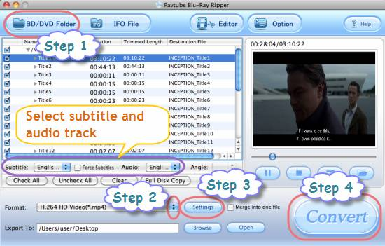 transcode bd vc-1 to h.264 mov, mkv, mp4