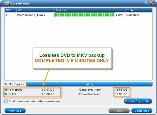 lossless dvd to mkv speed up