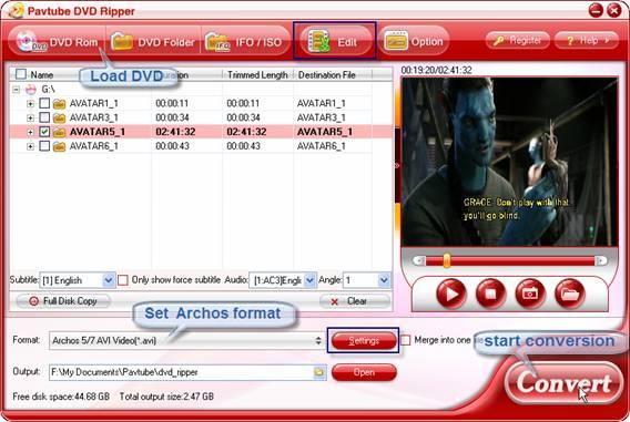 rip dvd to archos 7