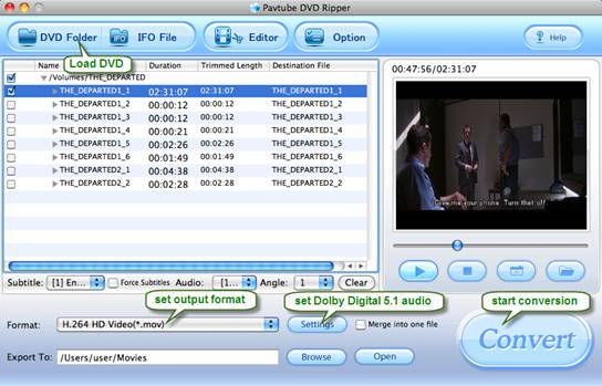 DVD to Apple TV 3 Converter for Mac: DVD, AC3 5.1 surround sound AAC 5.1