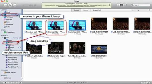 Sync iPad movies to iPad