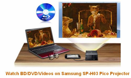 watch blu-ray movie with samsung sp-h03 pico projector