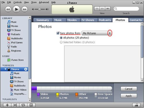 iTunes sync photos