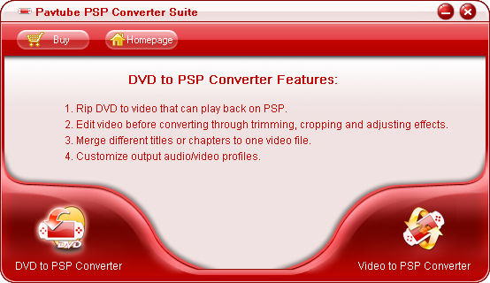 Pavtube PSP Converter Suite screenshot