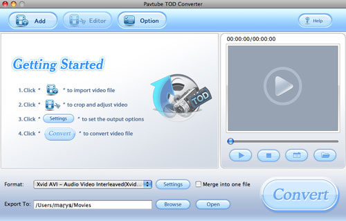 Pavtube TOD Converter for Mac screenshot