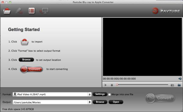 blu-ray to ipad converter for mac main interface