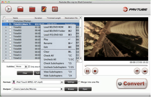 blu-ray to ipod converter for mac importing interface