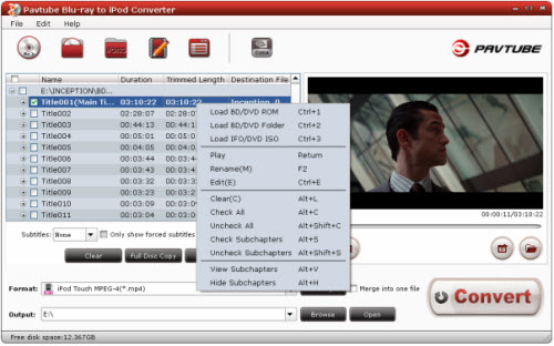 blu-ray to ipod converter importing interface