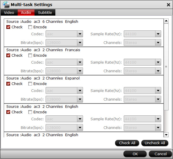 bytecopy multi-track-settings interface