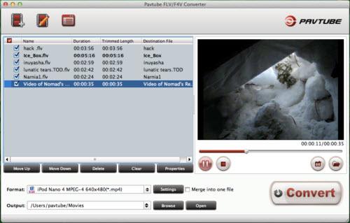 flv/f4v converter for mac importing interface