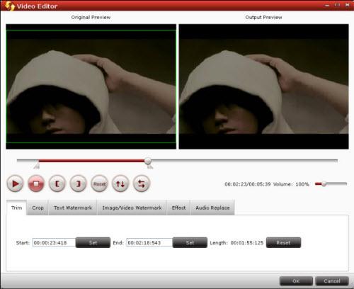 flv/f4v converter editing interface
