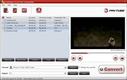 flv/f4v converter importing interface