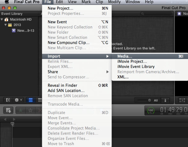 import video to fcp