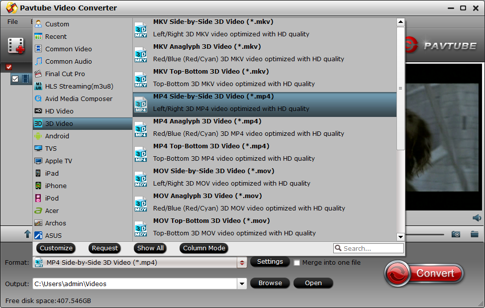 3D SBS MP4 in Pavtube Video Converter