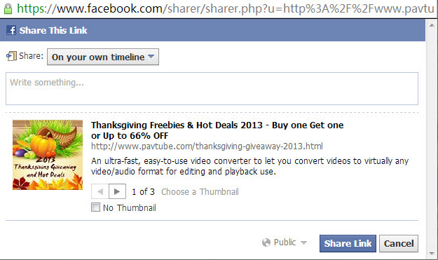 fb share 2013 Thanksgiving Special Offer: Freebies, Up to 66% off and Buy One Get One Free
